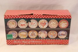 """222 Fifth 12 Days Christmas Salad Plates 8"""" Set of 12 in box - $103.87"""