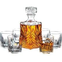 Whiskey Decanter Set Glass Bottle 7 Glasses Crystal Wine Stopper Like Li... - $39.31