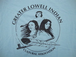 Greater Lowell Indian Cultural Association Native American Tribe Blue T Shirt XL - $14.84