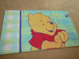 Winnie the Pooh Plaid Pillow Case 2 different sides grue yellow gr - $11.00