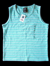GAP Kids Girls Tee L (10) NEW Sleeveless Tank Top Turquoise Striped Cotton - $9.67