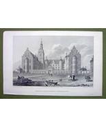 DENMARK Palace of Fredericksborg Facade - 1820s Copper Engraving by Cpt.... - $21.42