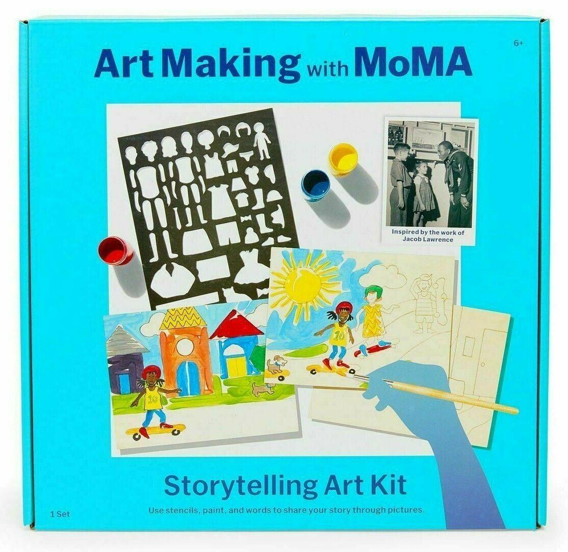 Art Making with MoMA Storytelling Art Kit Stencils Paint Brushes Jacob Lawrence