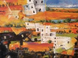 Dalla Citta alla Campagna by Tebo Marzari 24x32  Abstract Landscape Canvas Print - $246.51