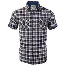Overdrive Men's Cotton Plaid Button Up Casual Short Sleeve Slim Fit Dress Shirt image 13