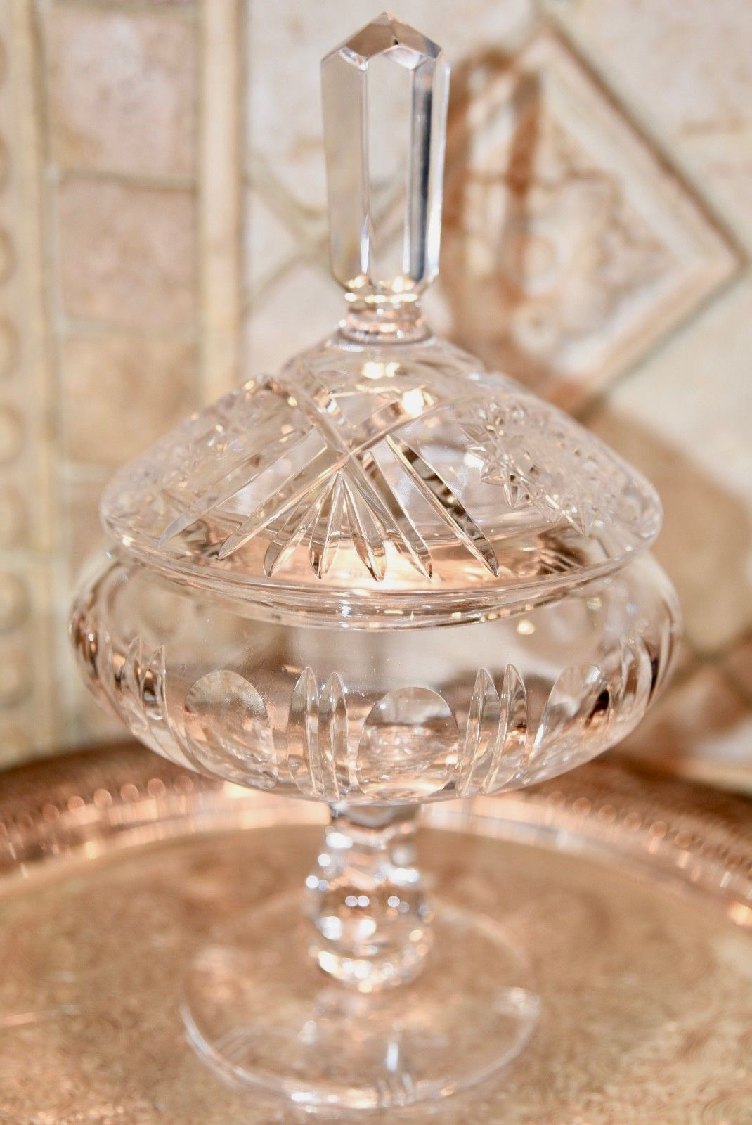 "Primary image for Vintage French?  Hand Cut HEAVY Crystal Candy Dish Footed Compote Lidded 10"" H"