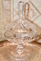Vintage French?  Hand Cut HEAVY Crystal Candy Dish Footed Compote Lidded... - $69.99