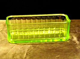 Green Depression Glass Storage Container Mid Century Kitchen Antique AA19-CD003 image 3