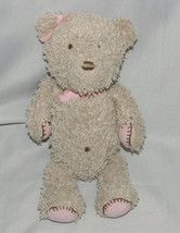 """Carters Made With Love Plush Stuffed Tan Teddy Bear Rattle Pink Feet 10"""" Patches - $25.73"""