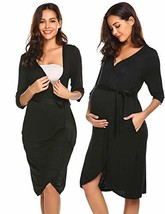 Ekouaer Maternity Labor Delivery Nursing Robe Hospital Bathrobe Black, S... - $24.84