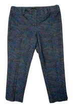 Talbots Women Size 14p (Meas 35x27) Green Paisley Pants Straight - $17.82