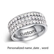 Personalized Engraved Stainless Steel 8mm Pave Set Luxury CZ Eternity Anniversar image 4