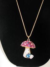 New Betsey Johnson Multi-colored Rhinestone Big Mushroom Pendant on ... - $24.50