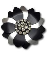 """Flower Floral Brooch Pin Rhinestones Black & Silver Tone Metal 2 1/4"""" Vi... - $8.45"""