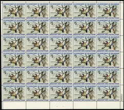 RW41, Mint VF Sheet of 30 $5 Duck Stamps CV $648.00 - Stuart Katz - $300.00