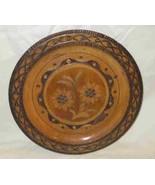 "Great Vintage 9 1/2"" Wood Wooden Plate Wood Burning Tramp Art - $57.87"