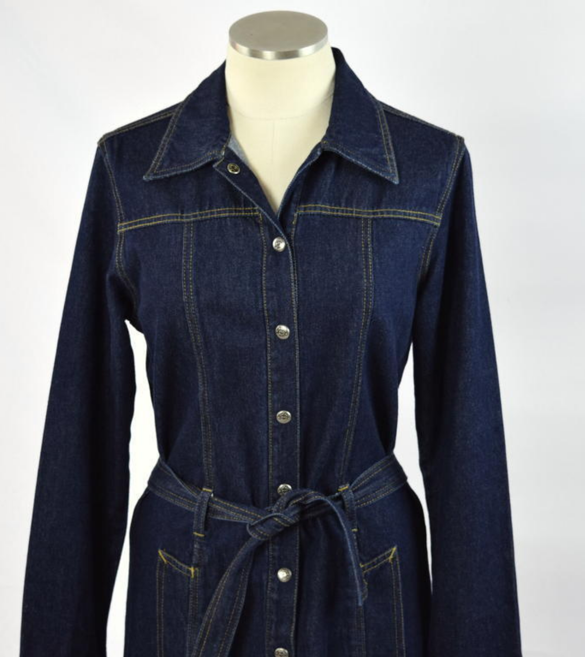 Denim Dress Trench Coat Shirt Jean Vtg 90s Western Button Down Belted Midi Med