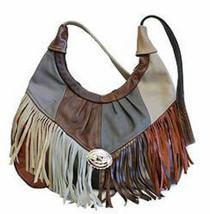 Patches Women's Handbag,Fringe Hobo Soft Leather Purse, shoulder bag, retro - $64.99