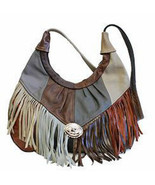 Patches Women's Handbag,Fringe Hobo Soft Leather Purse, shoulder bag, retro - $64.99