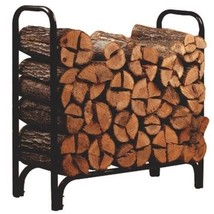 Firewood Log Rack Outdoor Log Holder Heavy Duty Storage Steel 4-Feet Bla... - $55.90