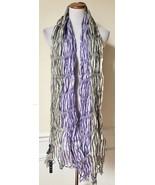 "NWT DIMRI Gray White Purple Striped Silk Blend Scarf Shawl Wrap 35"" x 76"" - $9.99"