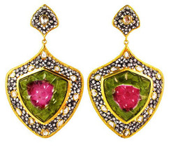 WATERMELON Tourmaline Gemstone 14 K Gold Dangle Earrings Silver 7.79 Ct Diamond - $3,662.01