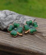 Avon Irish Four Leaf Clover Shamrock Post Earrings, Green Enamel, Pierced - $8.00