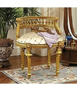 French VANITY CHAIR Upholstered Carved Antique Replica Dressing Bedroom ... - $649.95