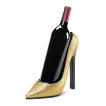 Wine Bottle Glass Holder, Glitter Gold Decorative Portable Wine Bottle H... - $34.49