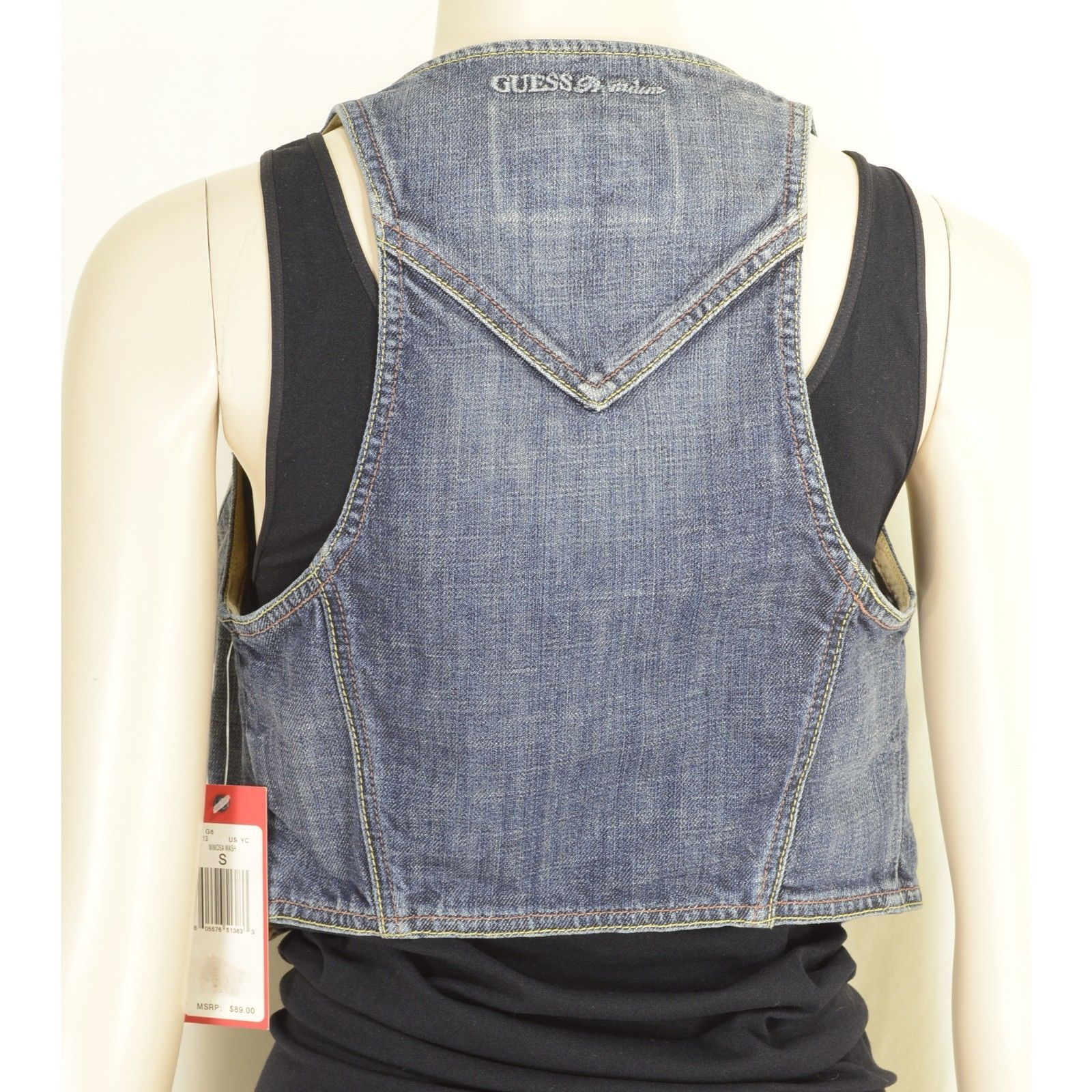 1 Guess vest SZ S NWT denim fitted cropped racerback waistcoat style USA