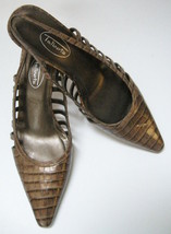 Talbots Womens Shoes Heels Brown Croc Slingbacks Cutouts Size 8 1/2 M Spain - $46.46