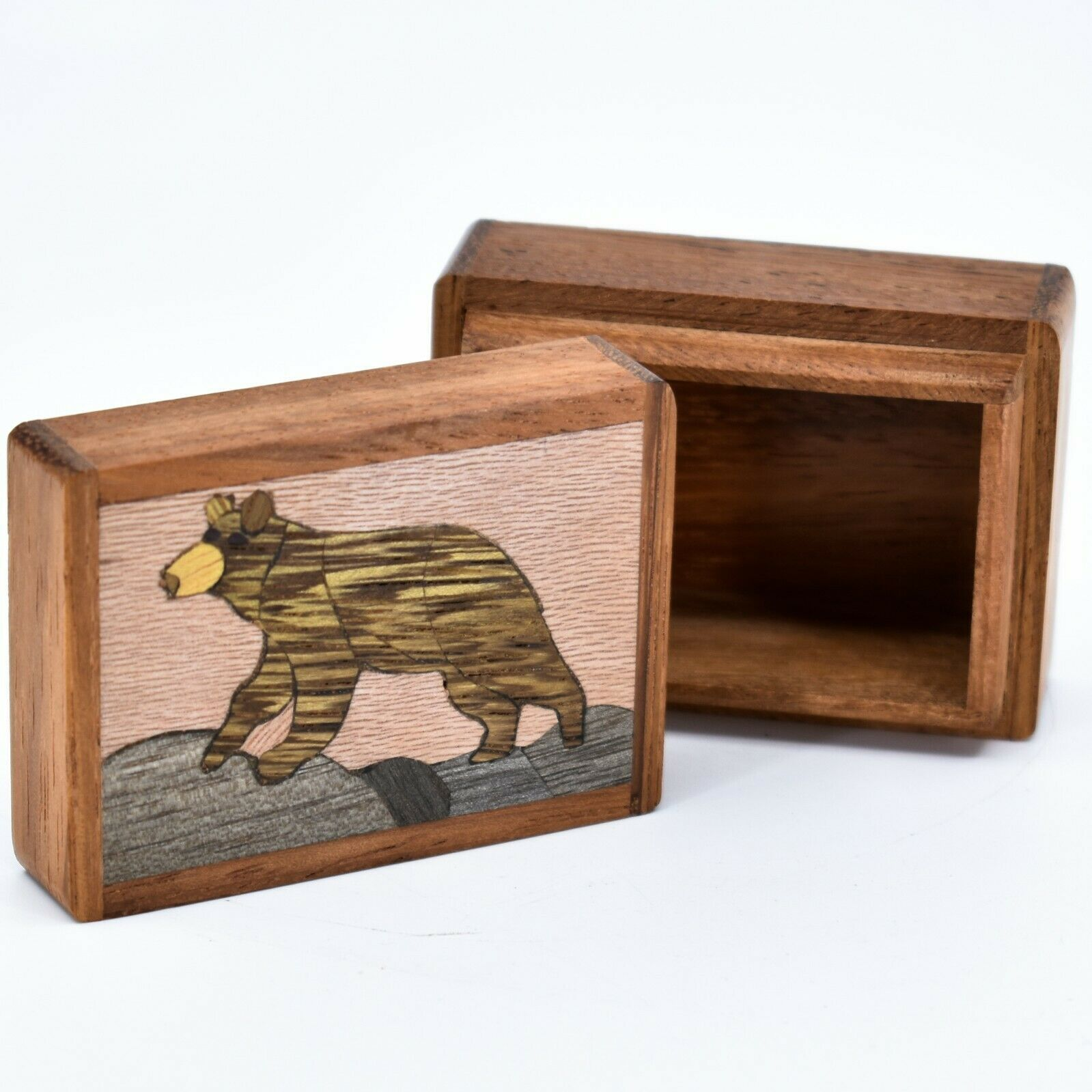 Northwoods Wooden Parquetry Black Bear Country Rustic Cabin Mini Trinket Box