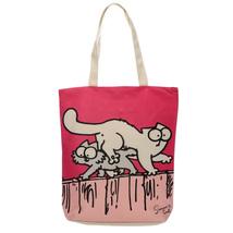 Shopping Bag ~ Zip Up Cotton -Simon The Cat Blue & Red -  Reusable - $10.39