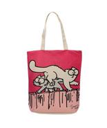 Shopping Bag ~ Zip Up Cotton -Simon The Cat Blue & Red -  Reusable - $11.30