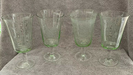 """4 Vintage PALE GREEN WINE GLASSES Water Goblet 7"""" Tall Inside Beveled Fo... - $24.74"""