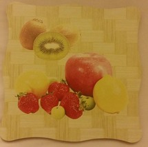 "1 New Natural Bamboo Heat Pad, Kitchen Decor, FRUITS, square, approx. 7""... - $7.91"