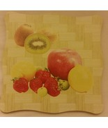 """1 New Natural Bamboo Heat Pad, Kitchen Decor, FRUITS, square, approx. 7""""... - $7.91"""