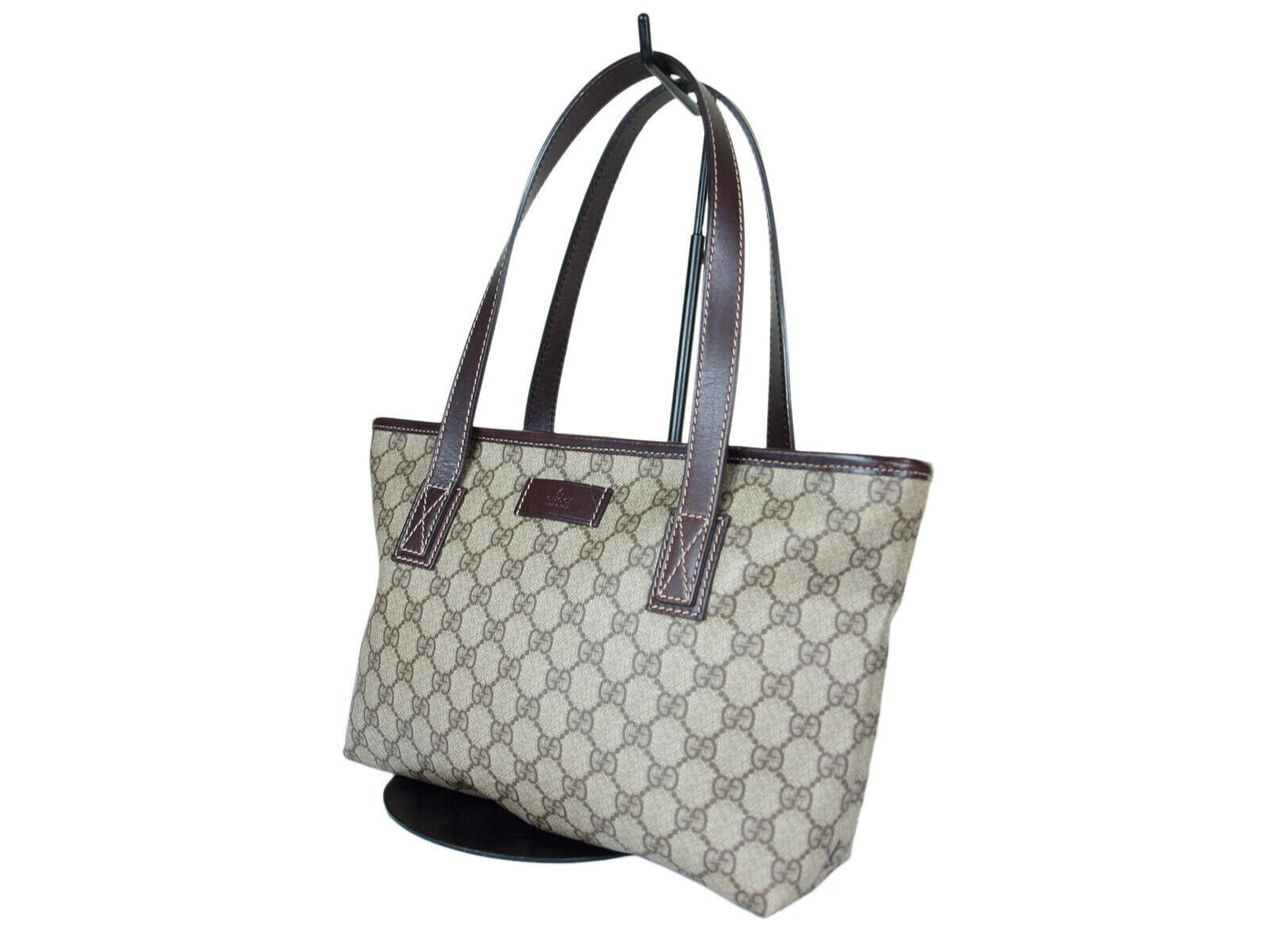 c645b2ac5580 Auth GUCCI GG Web PVC Canvas Leather Browns Tote Bag GP2032 -  349.00