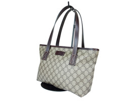 Auth GUCCI GG Web PVC Canvas Leather Browns Tote Bag GP2032 - $349.00