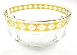 Arcoroc Valencia France Crystal Bowl 22K Gold Gilt Green Diamonds Vintage - $16.39