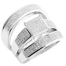 14k White Gold Fn 0.6 Ct Diamond Trio Wedding Ring Set Square Shaped Top 3pc Set - $179.08