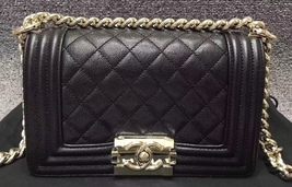 NEW 100% AUTHENTIC CHANEL 2017 BLACK QUILTED CAVIAR SMALL BOY FLAP BAG GHW - $5,499.99