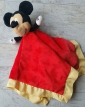 Disney Mickey Mouse Baby Security Blanket Lovey Red Yellow Disney Baby  - $24.74