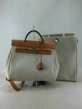 Hermes ale bag door PM bag backpack canvas leather beige - $875.78