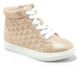 Cat & Jack Rose Gold Quilted Meagan Hi-Top Sneakers Shoes NWT