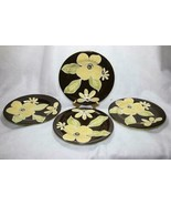 """4 Laurie Gates CAFE MOCHA 10"""" Dinner Plates  Brown Green Yellow Flowers - $16.82"""