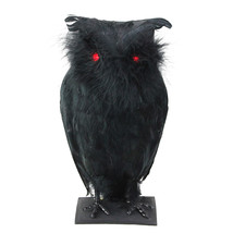 """10"""" Battery Operated Black Owl with Lighted Red Eyes and Sound Halloween... - $27.71"""