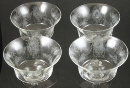 Set of 4, Heisey, Minuet, Etch No. 1530, Saucer Champagnes - $50.00
