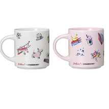 Starbucks X Cath Kidston Japan Limited Mug Cup Pink & White Set Of 2 F/S New - $83.29