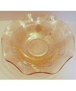 Large Jeannette Glass Iris and Herringbone Ruffled Fruit Serving Bowl Ma... - $29.99